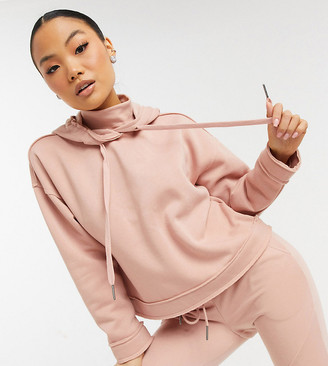 Noisy May Petite hoodie with high neck co-ord in pink