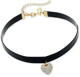 Thalia Sodi Faux Leather and Crystal Heart Choker Necklace, Only at Macy's