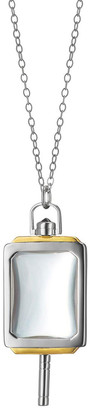 Monica Rich Kosann Silver & 18k Yellow Gold Rectangle Pocket Watch Key Pendant Necklace, 32""