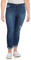 Style And Co. Plus Railroad Patch Curvy Boyfriend Fit Jeans