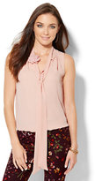 New York & Co. Floral-Accent Tie Blouse