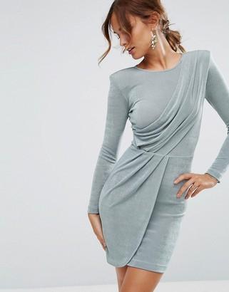 Asos Design ASOS Asymmetric Shoulder Pad Bodycon Mini Dress