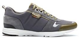 HUGO BOSS Low Top Sneakers In Leather, Suede And Structured Nylon - Light Grey