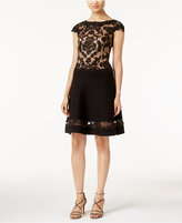 Tadashi Shoji Illusion Lace Fit & Flare Dress