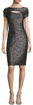 St. John Anaya Sequined Short-Sleeve Dress, Black Metallic