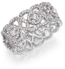 De Beers Enchanted Lotus Diamond& 18K White Gold Band Ring