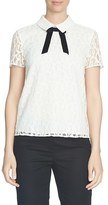 CeCe Tie Neck Scroll Lace Blouse