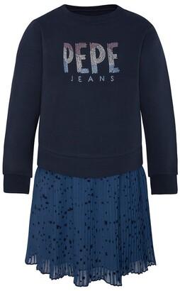 Pepe Jeans Cotton Logo Sweatshirt Dress, 8-16 Years