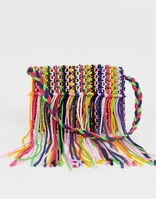 Glamorous rainbow fringe woven shoulder bag-Multi