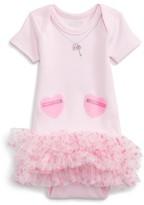 Infant Girl's Sara Kety Baby & Kids Heart Pocket Tutu Bodysuit