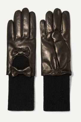 Portolano Bow-embellished Leather And Cashmere Gloves