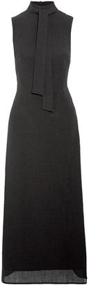 Cefinn Flared Tie-neck Woven Maxi Dress