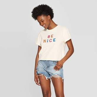 Mad Engine Women's Short Sleeve Be Nice Cropped Graphic T-Shirt - Mighty Fine (Juniors') - Cream