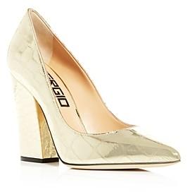 Sergio Rossi Women's Embossed Pointed-Toe High-Heel Pumps