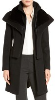 Soia & Kyo Women's Multilayer Bib Wool Blend Coat With Faux Fur Trim