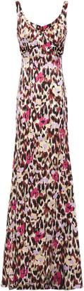 Roberto Cavalli Cutout Printed Stretch-silk Satin Maxi Dress
