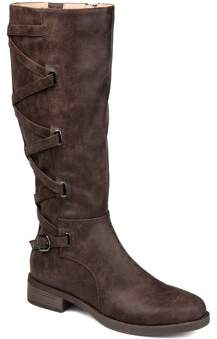 Brinley Co. Womens Wide Calf Lace-up Detail Riding Boot