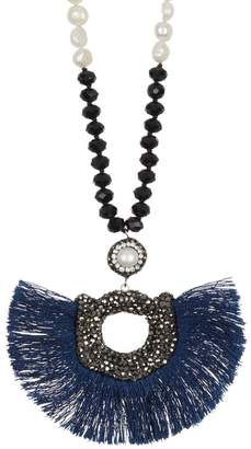 """ADORNIA 34\"""" Long Black Spinel and 7mm Freshwater Pearl Necklace with Peacock Style Druzy Pendant"""