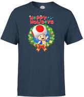 Nintendo Super Mario Toad Wreath Happy Holidays Navy T-Shirt