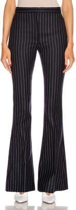 Alexander McQueen Pinstripe Sharp Flare Pant in Navy & Ivory   FWRD