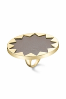 House Of Harlow Starburst Cocktail Ring with Khaki Leather
