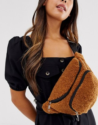 Asos Design DESIGN bum bag in teddy borg-Brown