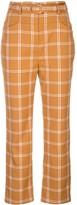 Jonathan Simkhai Windowpane high-waisted cigarette trousers