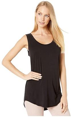 Michael Stars Lightweight Viscose Long Shirtail Tank Top (Black) Women's Sleeveless