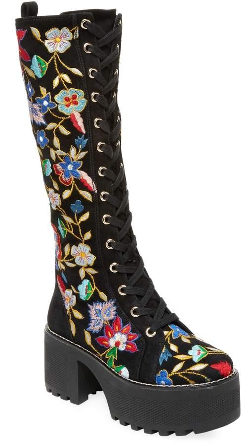 Alice + Olivia Women's Raye Embroidered Combat Boot