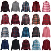 DaiLiWei Womens Plus Size Classic Plaid Button-Down Shirts Blouse 20 Style