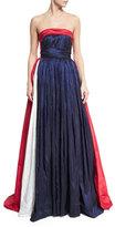 Naeem Khan Strapless Tricolor Taffeta Ball Gown, Blue/Multi
