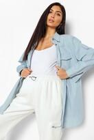 boohoo Maternity Lily Denim Shirt blue