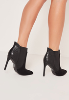 Missguided Croc Heel Pointed Toe Ankle Boots Black