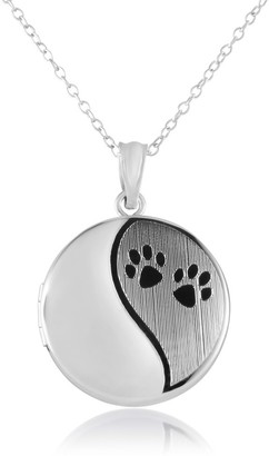 Es Assets Sterling Silver Round Shape Paw Prints Cremation / Keepsake Fashion Locket Pendant with Chain for Women, 20mm -Timeless, Elegant