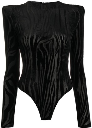Alex Perry Howell zebra print bodysuit