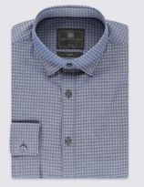 Marks and Spencer Cotton Rich Slim Fit Chambray Square Shirt