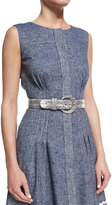 Oscar de la Renta Lizard-Embossed Waist Belt, Black/White