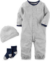 Carter's 3-Pc. Cotton Striped Hat, Coverall & Socks Set, Baby Boys