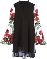 Soprano Big Girls 7-16 Floral-Embroidered-Sleeve Shift Dress