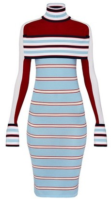 Louis Vuitton Striped Turtle Neck Knit Dress With Band