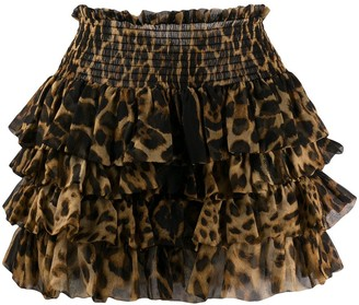 Saint Laurent Leopard-Print Ruffled Skirt