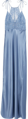 Stella McCartney Ophelia Whistling Silk-blend Satin And Stretch Leavers Lace Chemise