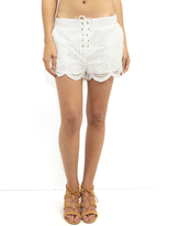 MinkPink Crescent Moon Lace Up Short in Off White