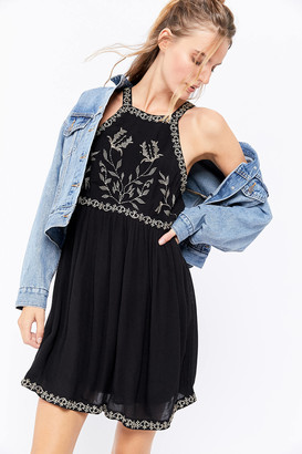 Urban Outfitters Westerly Embroidered High Neck Mini Dress