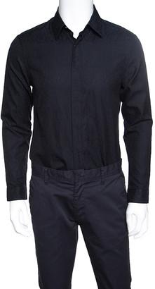 Versace Black Cotton Jacquard Long Sleeve Slim Fit Shirt L