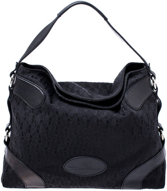 Aigner Black Monogram Canvas and Leather Hobo