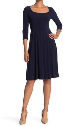 Eliza J Square Neck Fit & Flare Dress
