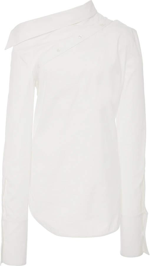 Monse Off-The-Shoulder Spliced Cotton-Poplin Shirt