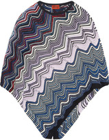 Missoni Metallic Crochet-knit Poncho - Blue