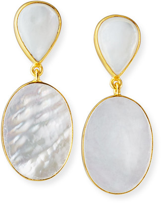Dina Mackney Mother-of-Pearl and Natural Quartz Drop Earrings